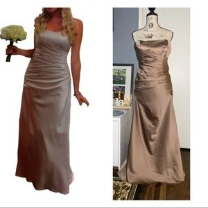 David bridal satin ruched gown F13974